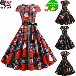 Vintage Womens Christmas Swing Dress Ladies Short Sleeve Party Skater Dresses US