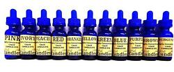 Set of 11 Liquid Candle Dyes - 1 Ounce Glass Dropper Bottles of Premium Candle D