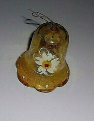 Hand Painted HAND BLOWN CHANDELIER YELLOW CRYSTALS BELLS 3quot; Tall $10.00