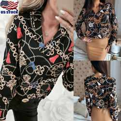 Womens Floral Printed Long Sleeve Tops Shirt Ladies Loose Asymmetrical Blouse US