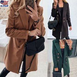 Women Winter Trench Coats Blazer Wool Long Jackets Outwear Lapel Parka Overcoat