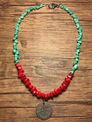 Handcrafted Genuine Turquoise And Red Coral Necklace