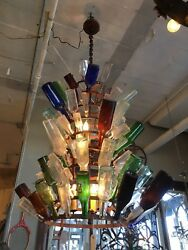 Custom Made Antique 10 Tier Wine Champagne Bottle Drying Rack Chandelier OOAK