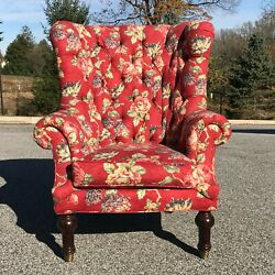 excellent J. Royale Hickory N.C. oversized tufted back wing chair red floral