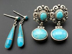 Vtg Gorgeous Sterling Southwest & Ethnic Earring Lot 2Pr Hinged Inlay Tear Drop
