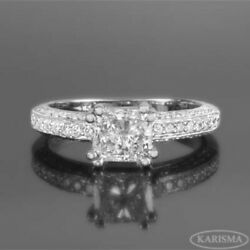 DIAMOND RING PRINCESS WOMENS SI2 D 2.6 CT 14K WHITE GOLD 8 PRONGS SIZE 5 6 7 8