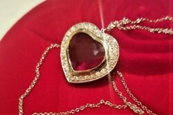 WOMENS FINE JEWELRY PENDANT NATURAL RUBY & DIAMONDS 14K WHITE GOLD FOR ANNIVERS