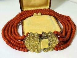 139Gram Antique old natural red coral bead large 14k yellow gold clasp