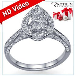 1.34 Ct HALO PEAR DIAMOND ENGAGEMENT RING I SI1 14K White Gold Pave 46500077
