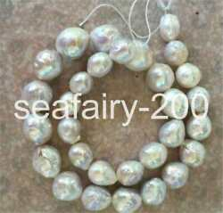 classic huge14-15MM natural south sea baroque white pearl necklace 18