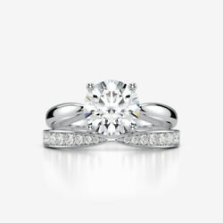 2.2 CT SI2 MATCHING BANDS SET DIAMOND RING MODERN COLORLESS 18K WHITE GOLD