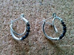 Hoop Earrings Pierced Ear Silver With 7 Black Beads  34