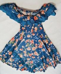 Jaase Off Shoulder Maxi Blue Floral Dress Bohemian Dress Size S $39.99