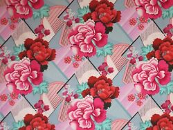 Cotton Fabric--Pink Floral Geometric Double Fault Print Amy Butler--One Yard