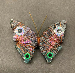 STUNNING! VINTAGE HAND CRAFTED BUTTERFLY PIN BROOCH 2""