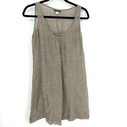 Eileen Fisher Size Small Solid Brown 100% Linen Sleeveless Tank Shift Dress