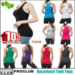 WOMENS Racerback Tank Tops Sleeveless PROCLUB Workout Gym Yoga Solid Undershirt $5.50
