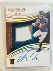 2016 Immaculate Collection Chris Moore RC RPA 9699 Card #133 Baltimore Ravens