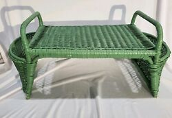 Vintage Wicker Bed lap Serving Tray green wooden lap desk Book Magazine butlers