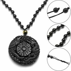 Lucky Pendant Necklace Natural Obsidian Carved Chinese Dragon Phoenix BaGua Gift $8.38