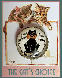BLACK CAT FOR LUCK Glass Dome BUTTON 1 1 4quot; VINTAGE ADVERTISING PIN BACK Art $7.99