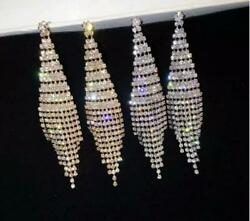 statement silver or gold crystal chandelier CLIP ON earrings drag queen pageant