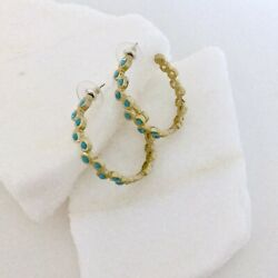 Banana Republic Matte Gold-tone Pierced Hoop Earrings with Faceted Turquoise