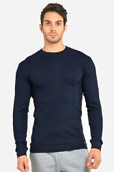 Mens Thermal Underwear Shirts Long Sleeve Waffle Top Crew Neck 100% Cotton S~3XL