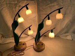RARE VINTAGE LILY OF THE VALLEY ASTROLAMP BOUDOIR LAMPS HOLLYWOOD REGENCY RARE