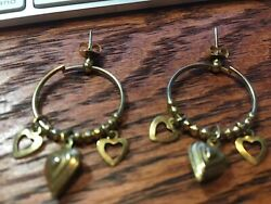 Gold Tone Pierced Hoop Earrings with Three Gold Hearts at the Bottom