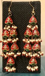 GORGEOUS INDIAN 4 TIER CHRISTMAS CHANDELIER EARRINGS w PEARL GLASS BEADS NWT $55.00