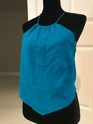 Ultasuede Turquoise Halter Top Laundry by Shelli Segal Size 10