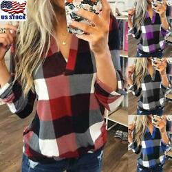 Plus Size Women V Neck Plaid Blouse Ladies Casual Loose Long Sleeve T Shirt Tops $15.67