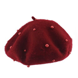 Baby Girl Beret Cute Wool Knitted Hat Pearl Hat Autumn Winter Candy Color Caps