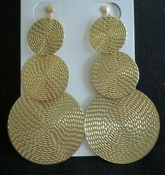 3quot; Long CLIP ON EARRINGS Gold Disc Circles DROP CHANDELIER Jewelry NON PIERCED $15.29