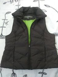Kenneth Cole Reaction Womans Down Feather Puffer Vest Sz XL Full Zip Brown VGUC