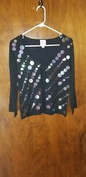 Pink Poodle Size M Sequined Cardigan $15.50