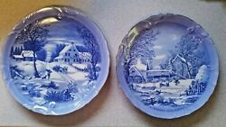 Vintage Currier amp; Ives Homestead In Winter The Farmer#x27;s Home Plates Set of 2 $23.79