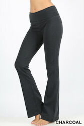 Womens Yoga Pants Bootcut Stretch Cotton Fold Over Waistband High Rise Flare $14.99
