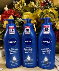 3 BIG  16.9oz NIVEA Essentially Enriched Body Lotion  Dry Skin With Almond Oil $21.99