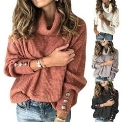 Women Knitted Loose Sweater Pullover Ladies Cowl Neck Baggy Top Jumper Plus Size