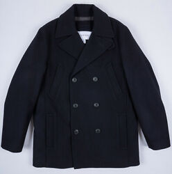 CALVIN KLEIN BNWT MENS WOOL BLEND DOUBLE BREASTED PEA COAT sz M NAVY CAR COAT