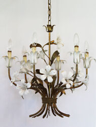 Italian Tole White Lily Chandelier Antique Made in Italy $945.00