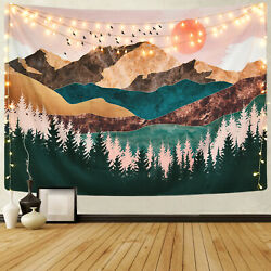 USA Watercolor Mountain Tapestry Art Wall Hanging Tapestries Home Wall Decor $14.98