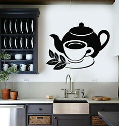 Vinyl Wall Decal Cup Cafe Drinking Tea Ceremony Kitchen Decor Stickers g2141 $29.99