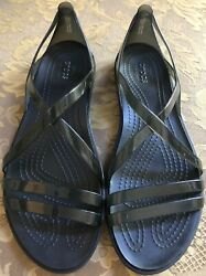 Crocs Iconic Comfort Isabella Black Jelly Strappy Flat Sandals Women Sz 8