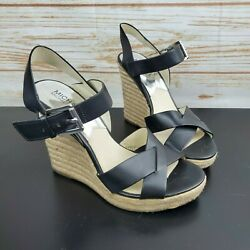 Michael Kors Black Leather Strappy Open Toe Wedge Heels Sandals Women's 8.5