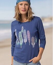 NEW Sahalie Womens Saturday Market Long Sleeve Tee Navy Blue Feather Design M $9.99