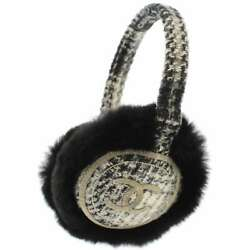 CHANEL Earmuff Tweed Orylag Rabbit Fur White Black CC Logo  5500376