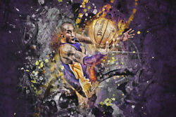 Lakers Kobe Bryant Layup Art Wall Indoor Room Outdoor Poster - POSTER 24x36